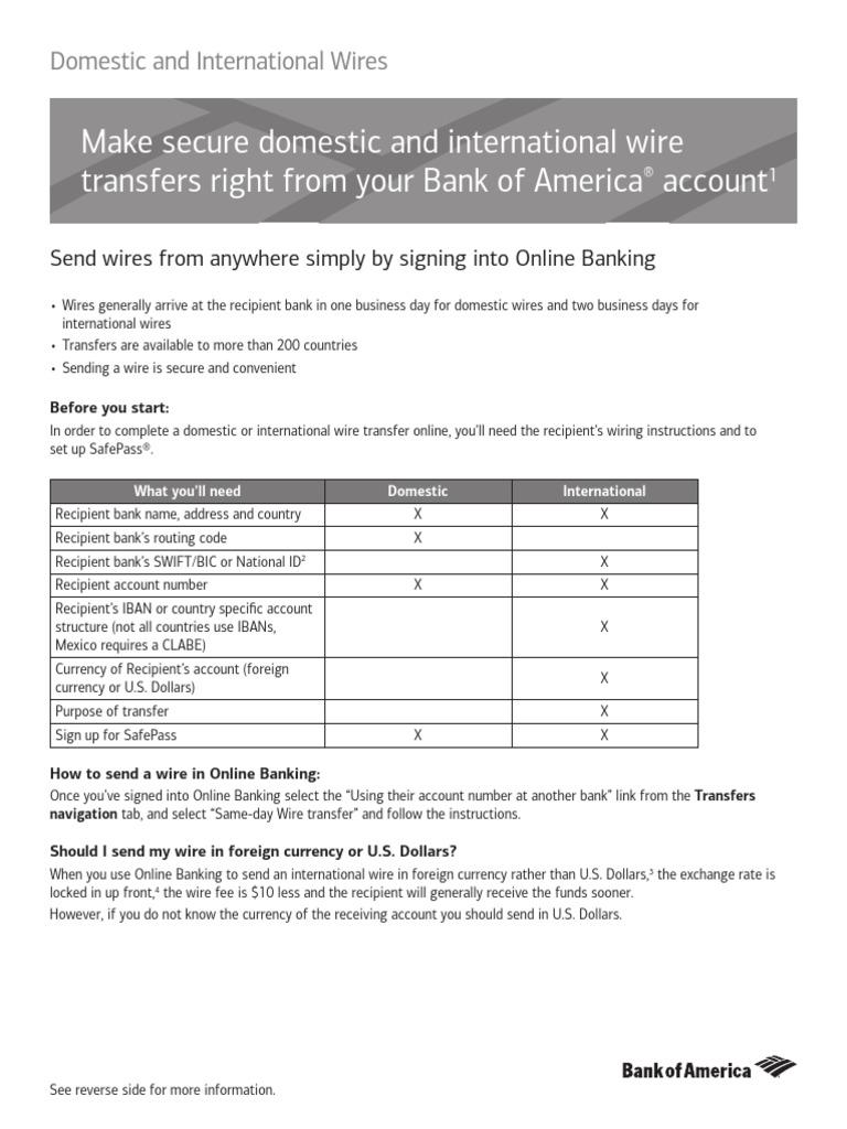Wiring Money Internationally Bank Of America - WIRE Center •