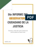Quinto Informe Del Observatorio Ciudadano de La Justicia de Nuevo Leon1