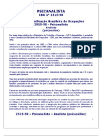 Psicanalista Classificação Brasileira de Ocupações CBO 2515-50
