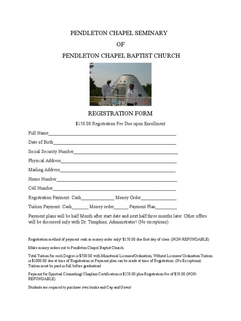Registration Form For Pendelton Chapel