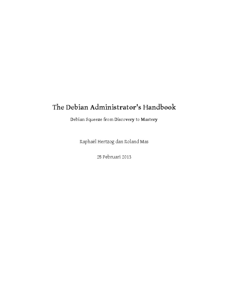 Debian Handbook 1 Operating System Technology