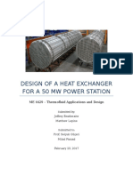 homework 3 - design of a heat exchanger for a 50mw power station
