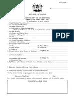 Kenya Visa Application Form