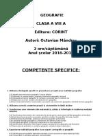 Planificare Geografie Clasa a VIII A