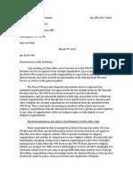 Letter to the Internal Revenue Service regarding Form 990