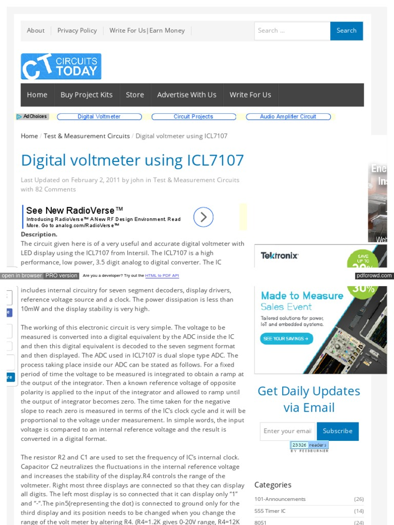 Www Circuitstoday Com Digital Voltmeter Using Icl7107 Analog To Simple Circuit Diagram Converter Electronic Circuits