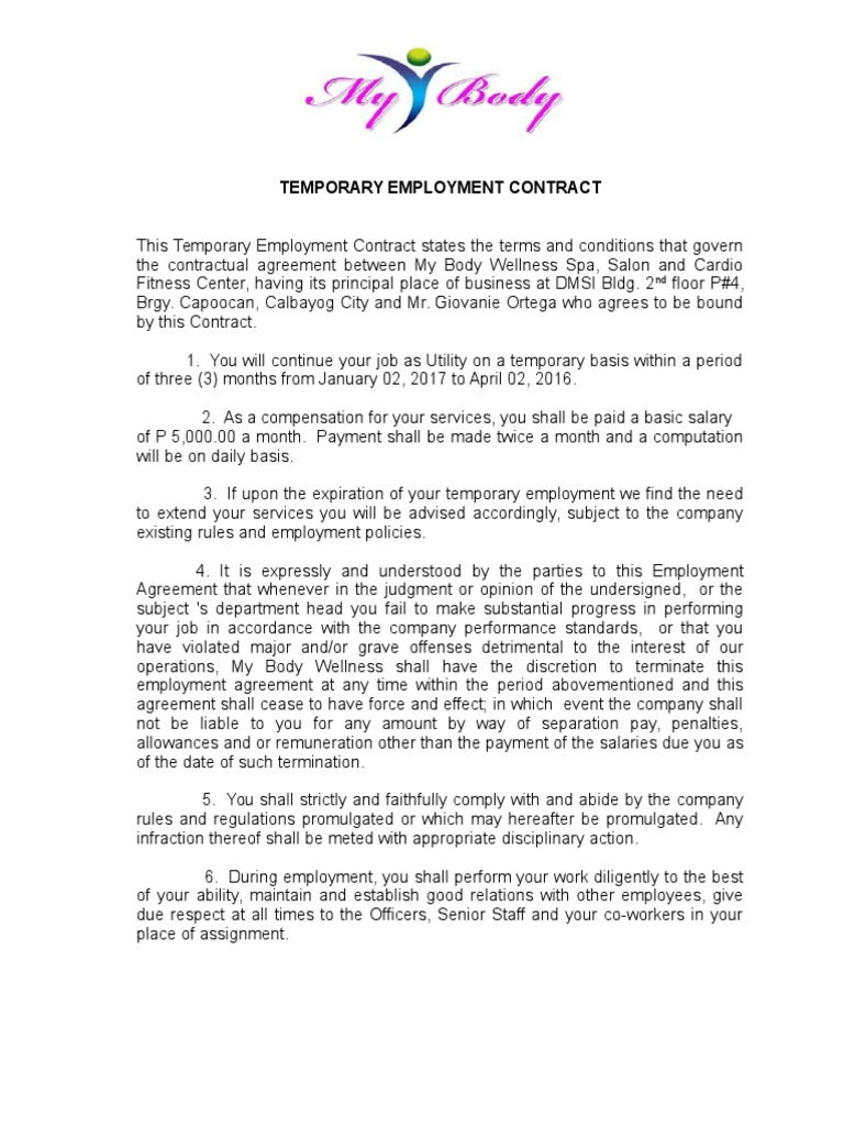 Perfect 326312414 Temporary Employment Contract | Contractual Term | Employment Great Pictures