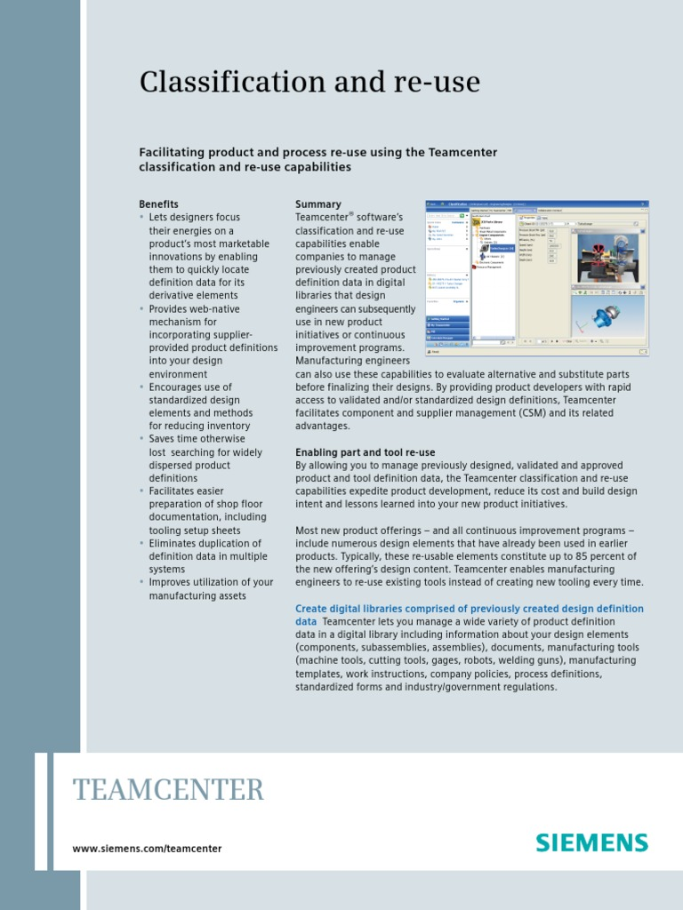 Classification and re-use: Teamcenter