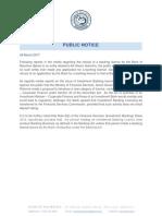 Communiqué émis par la Banque centrale le 9 mars 2017 sur l'affaire Álvaro Sobrinho