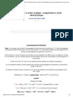 Permanganate Et Acide Oxalique ; Magnésium Et Acide Chlorhydrique. Concours Kiné Berck 2008