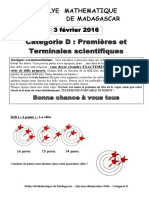 Sujet Eliminatoires Categorie D 2016