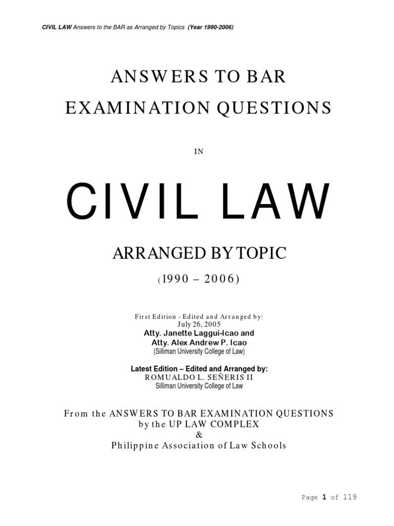 bar exams question 2006 2010