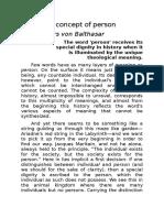 Hans Urs Von Balthasar- Concept of Person in Theology