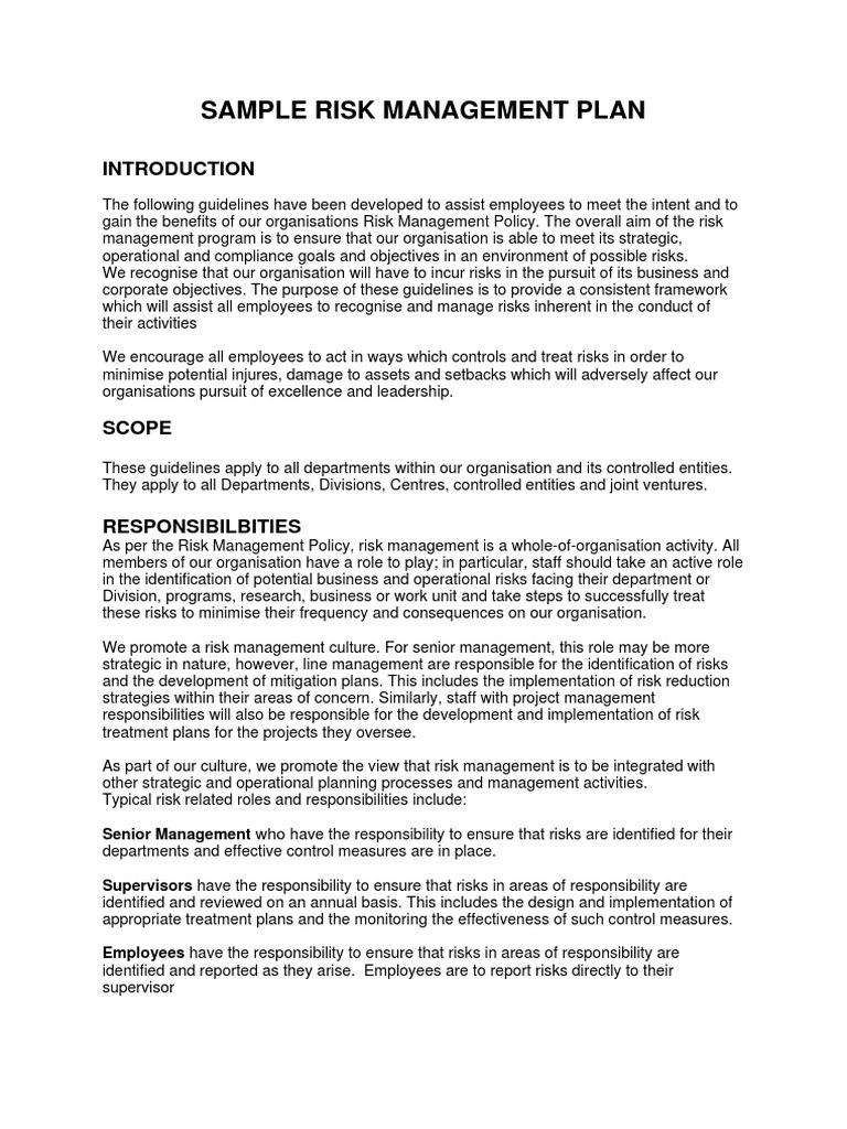 Sample Risk Management Plan | Risk Management | Risk