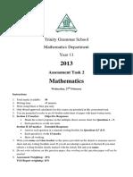 Trinity Grammar 2013 2U PT1 & Solutions