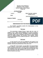 Midterms Trial Memorandum Prosecution People v Takad