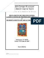 Antiguo reglamento Loteamiento y Urbanizaciones - Sucre Bolivia (no vigente)