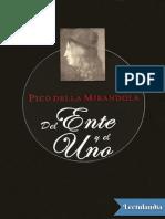 Del Ente y El Uno - Giovanni Pico Della Mirandola
