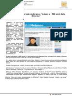 """A Urbino due giornate dedicate a """"Lutero e i 500 anni della Riforma"""" - Il Metauro.it, 8 marzo 2017"""