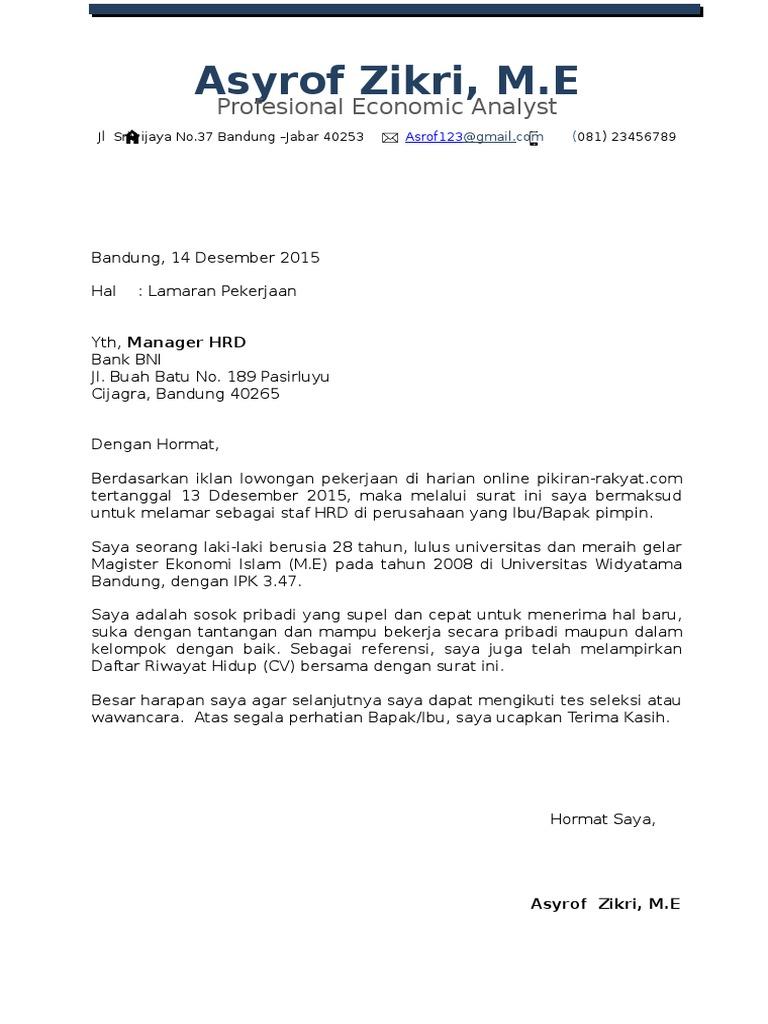 Contoh Resume Lamaran Kerja Online