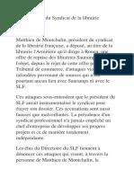 Communiqué du Syndicat de la librairie française