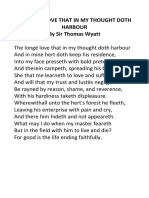 The Long Love That in My Thought Doth Harbour, T.wyatt