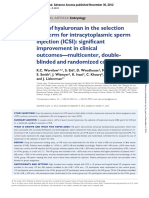 Use of Hyaluronan in the Selection of Sperm for Intracytoplasmic Sperm Injection (ICSI)- Significant Improvement in Clinical Outcomes—Multicenter, Doubleblinded and Randomized Controlled Trial