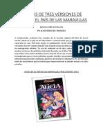 Análisis de Tres Versiones de Alicia en El País de Las Maravillas