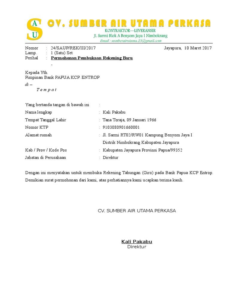 Surat Permohonan Pembukaan Rekening Bank