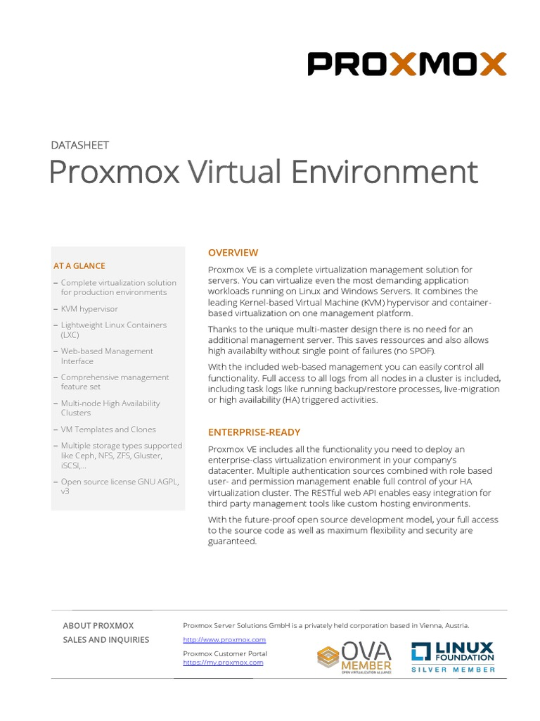 Proxmox-VE-Datasheet pdf | Application Programming Interface