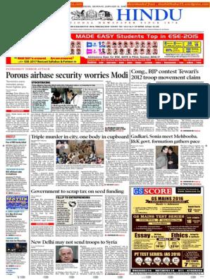 11-01-2016 - The Hindu - Shashi Thakur   Narendra Modi   Delhi