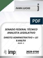 Aula 01 de Direito Adm. Para Senado Téc. e Analista
