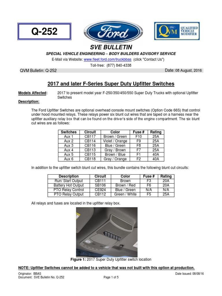 ford f series 2017 upfitter switch system rh scribd com ford upfitter switches wiring diagram 2016 ford upfitter switches wiring diagram
