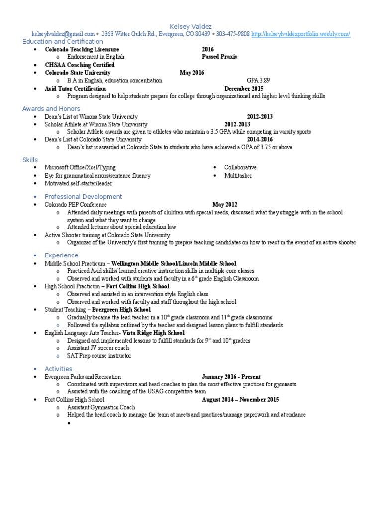 Resume May 2017 Secondary School Grading Education