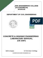 Concrete & Highway Engg Lab Manual 2014