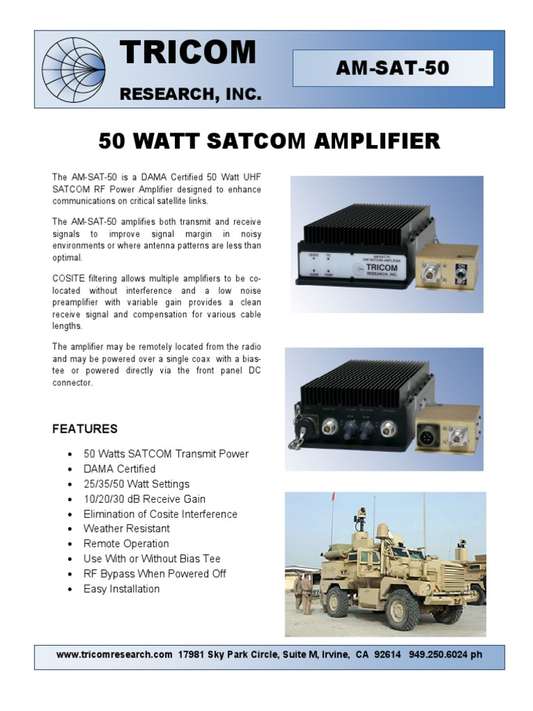 Am Sat 50 Data Sheet | Amplifier | Electrical Engineering