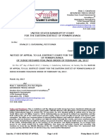 Chapter 11 17-10615REF  NOTICE OF APPEAL TO U.S. DISTRICT COURT FOR THE EASTERN DISTICT OF PENNSYLVANIA OF JUDGE RICHARD FEHLINGS ORDER of February 28, 2017 - MARCH 10, 2017