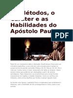 Os Métodos, o Caráter e as Habilidades Do Apóstolo Paulo