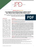 3 Técnicas de Soldadura Dental Con Láser y Plasma Aplicadas a La Aleación Ti-6Al-4V Resistencia a La Tracción Final y Análisis de Elementos Finitos