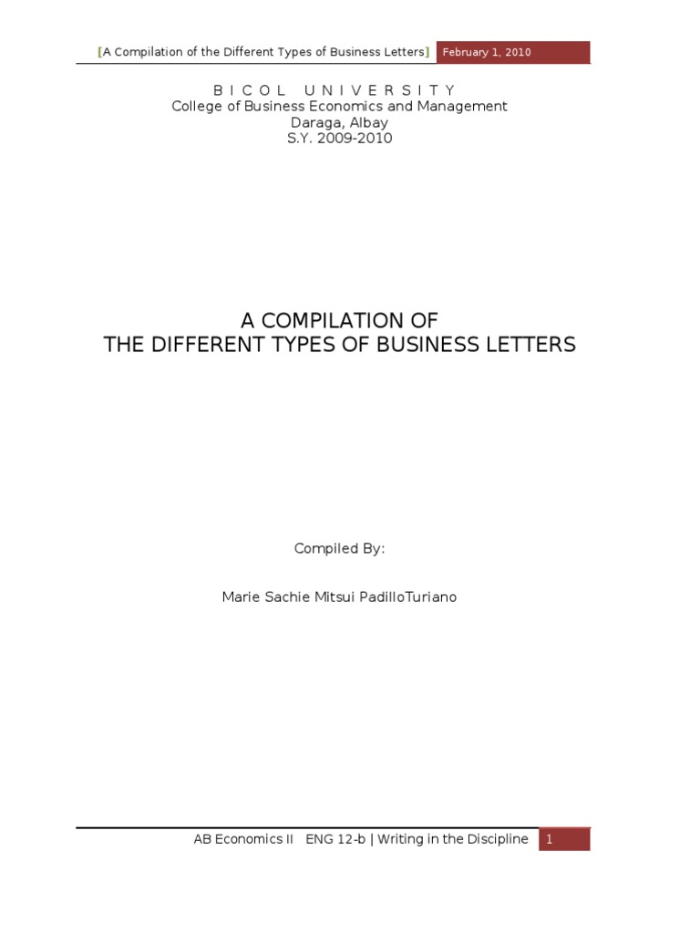 different business letter