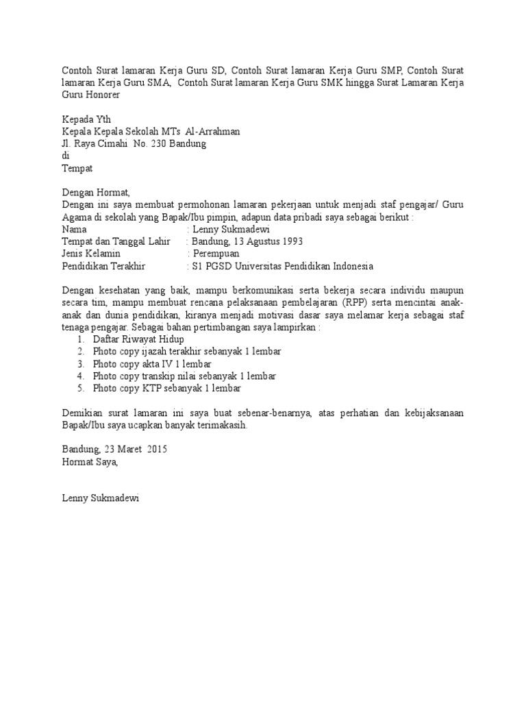 Contoh Cv Melamar Kerja Guru Best Resume Examples