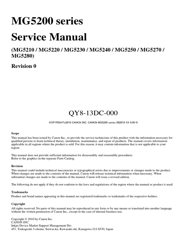 ... Array - service manual canon mg52xx image scanner troubleshooting rh  scribd ...