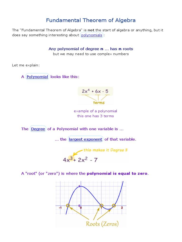 Fundamental Theorem Of Algebra Polynomial Zero Of A Function