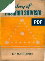 B. N. Pandit History of Kashimir Saivism