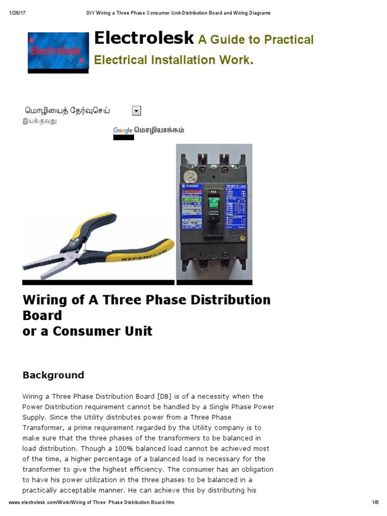 diy wiring a three phase consumer unit distribution board and wiring rh es scribd com