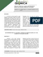 Determinação do teor de cloreto em águas de abastecimento da região agreste potiguar
