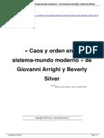 Caos y Orden en El Sistema Mundo Moderno de Giovanni Arrighi y Beverly Silver