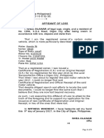 Affidavit of Loss of Certificate of Ownership of Automobile