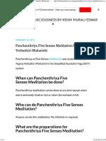 Panchenthriya Five Senses Meditation by Yogiraj Vethathiri Maharishi - Journey of Consciousness by Krish Murali Eswar