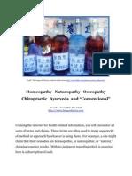 Homeopathy Naturopathy Osteopathy Chiropractic Ayurveda